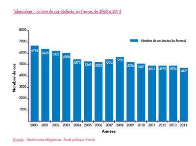 Tuberculose : nombre de cas déclarés, en France, de 2000 à 2014